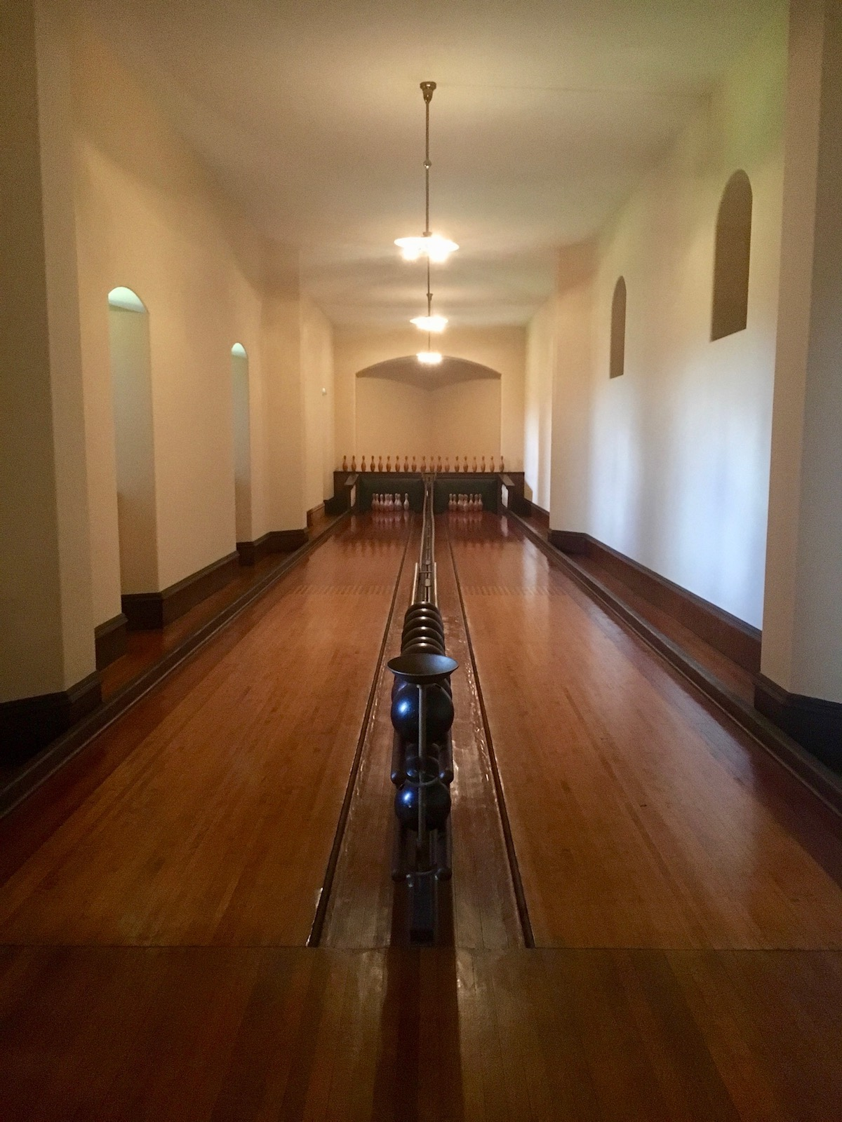 home bowling alley at the Biltmore