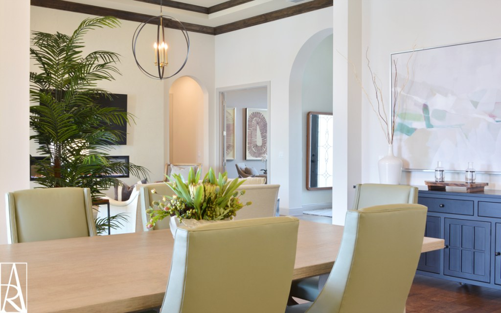 Nature inspired dining room in Lakewood Ranch Florida interior designer Angela Rodriguez Interiors