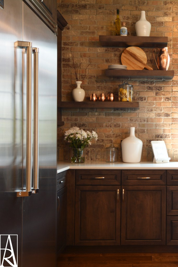 Warm brick kitchen in Lakewood Ranch Florida interior designer Angela Rodriguez Interiors