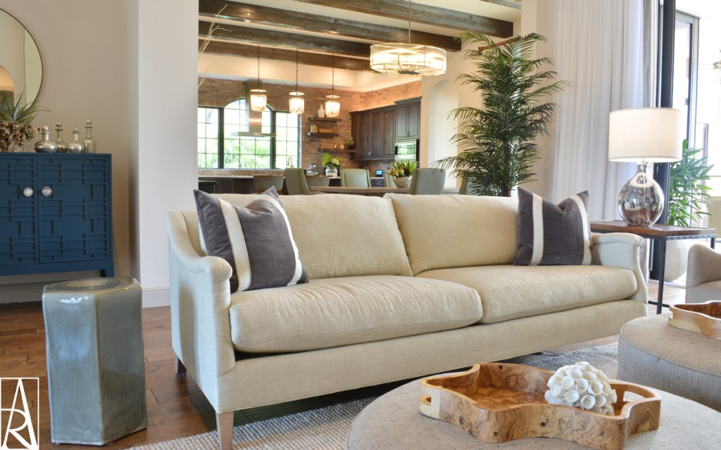 Cozy living room in Lakewood Ranch Florida interior designer Angela Rodriguez Interiors
