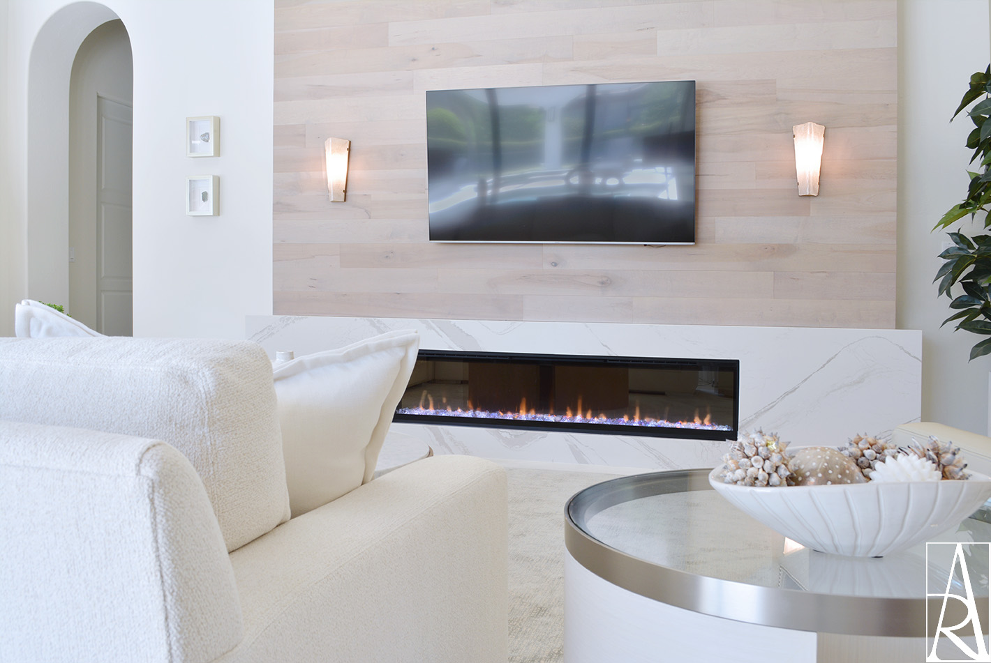A contemporary living room interior design at The Lake Club in Lakewood Ranch, FL