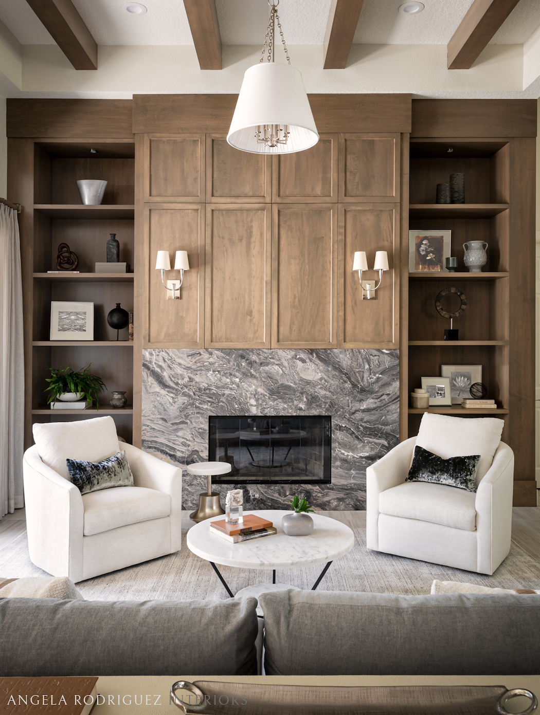 Transitional style living room with tall ceiling by Angela Rodriguez Interiors, Sarasota interior designer