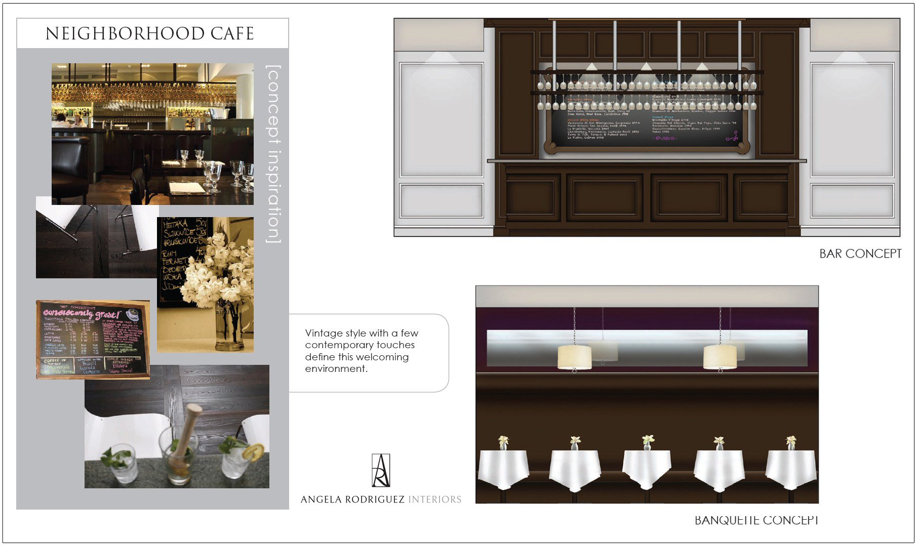 Design of a modern Italian cafe and bar with wood paneling
