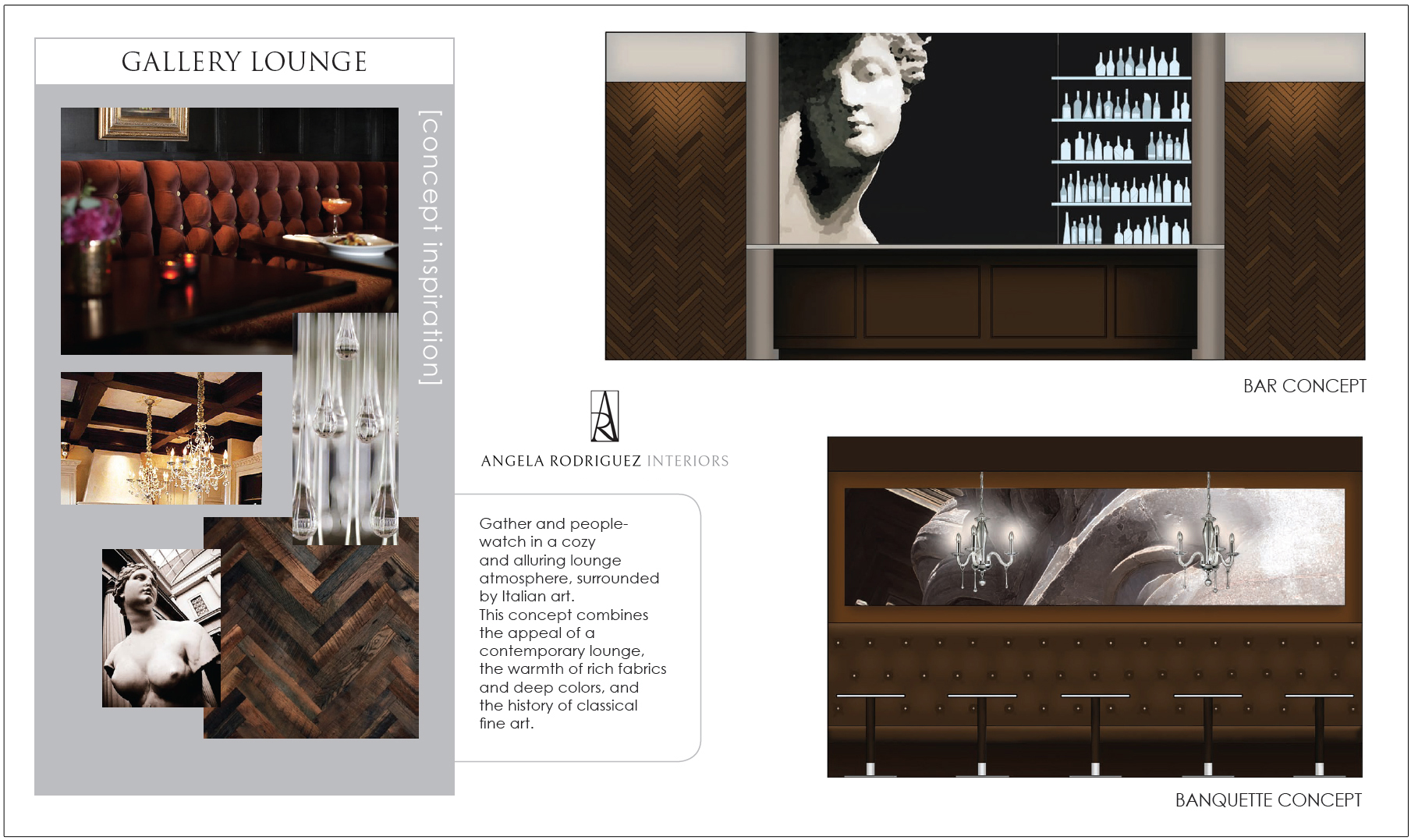 Design of a modern Italian cafe with velvet upholstered booths and art gallery concept